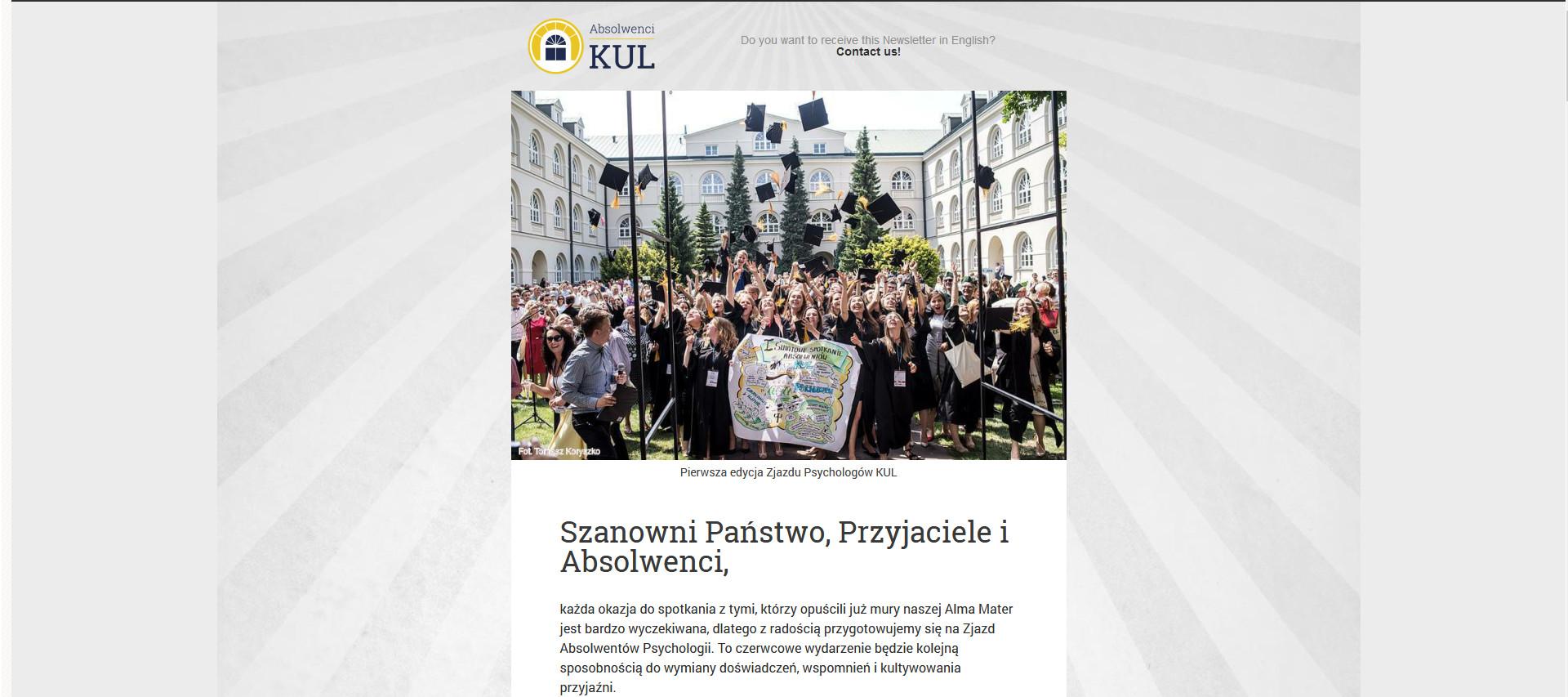 Towarzystwo Przyjaciół KUL Newsletter Absolwenta